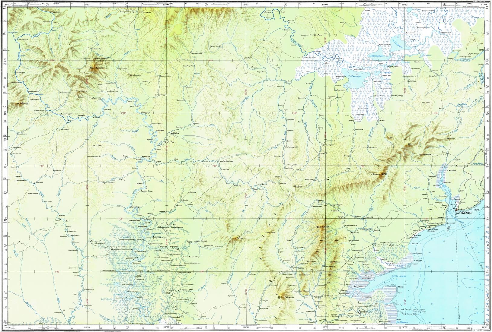 Download topographic map in area of balikpapan muaramuntai reduced fragment of topographic map ru gs 500k xa50 gumiabroncs Choice Image