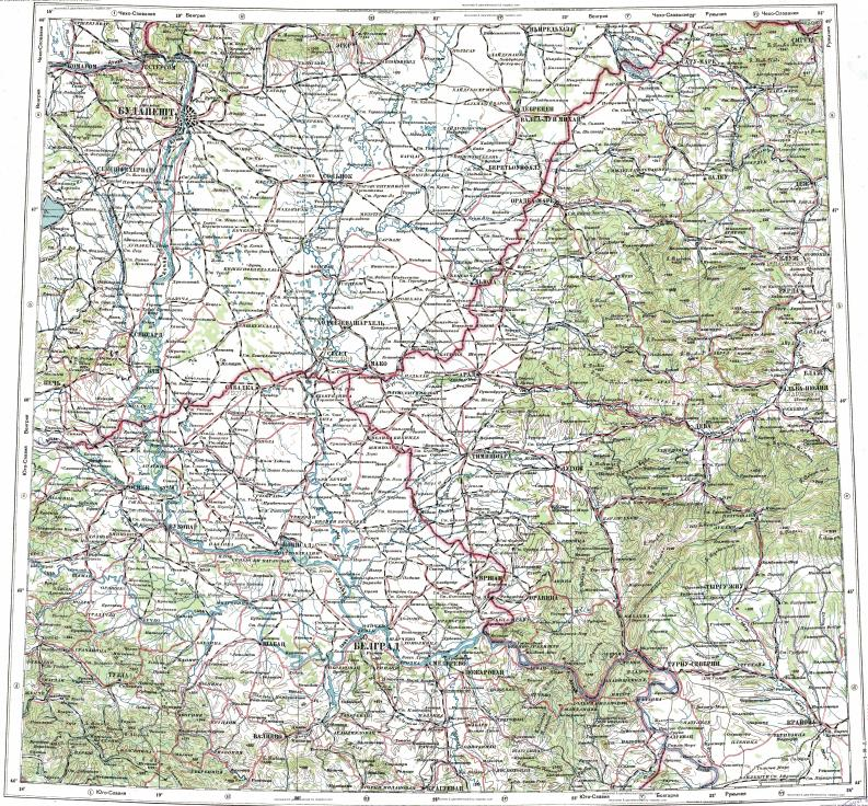 Download topographic map in area of Budapest Belgrade Craiova
