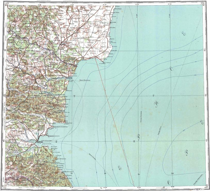 Download topographic map in area of Varna Burgas Tolbukhin